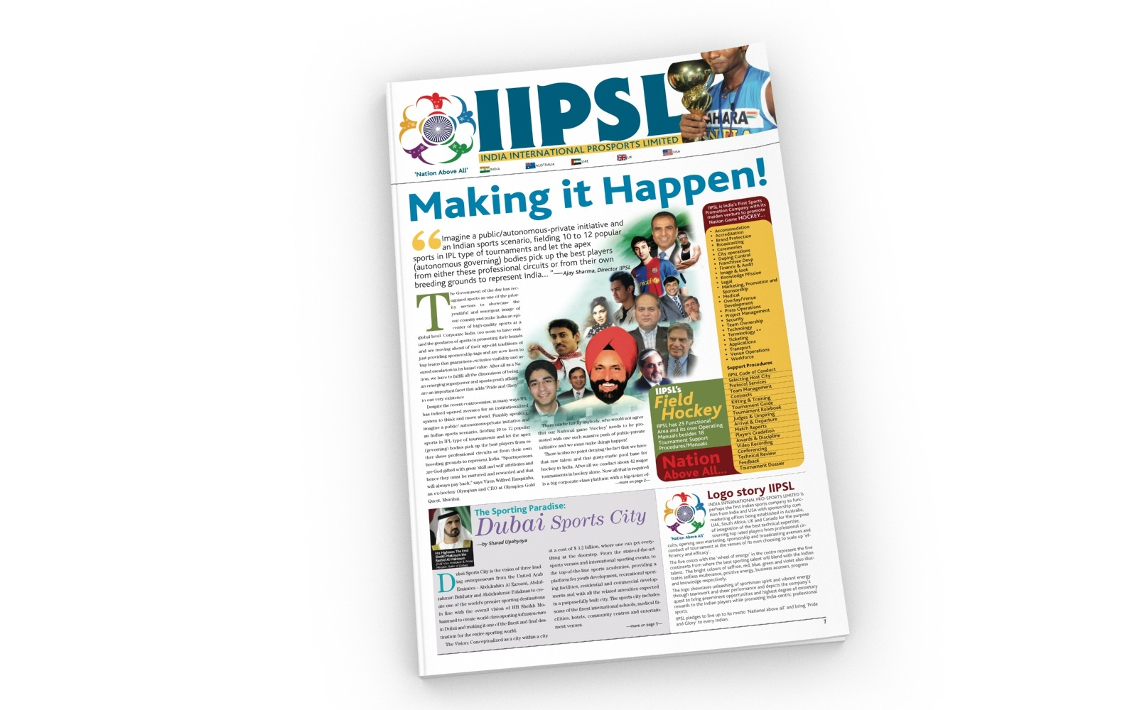 Tabloid magazine cover page layout design for IIPSL, Sports