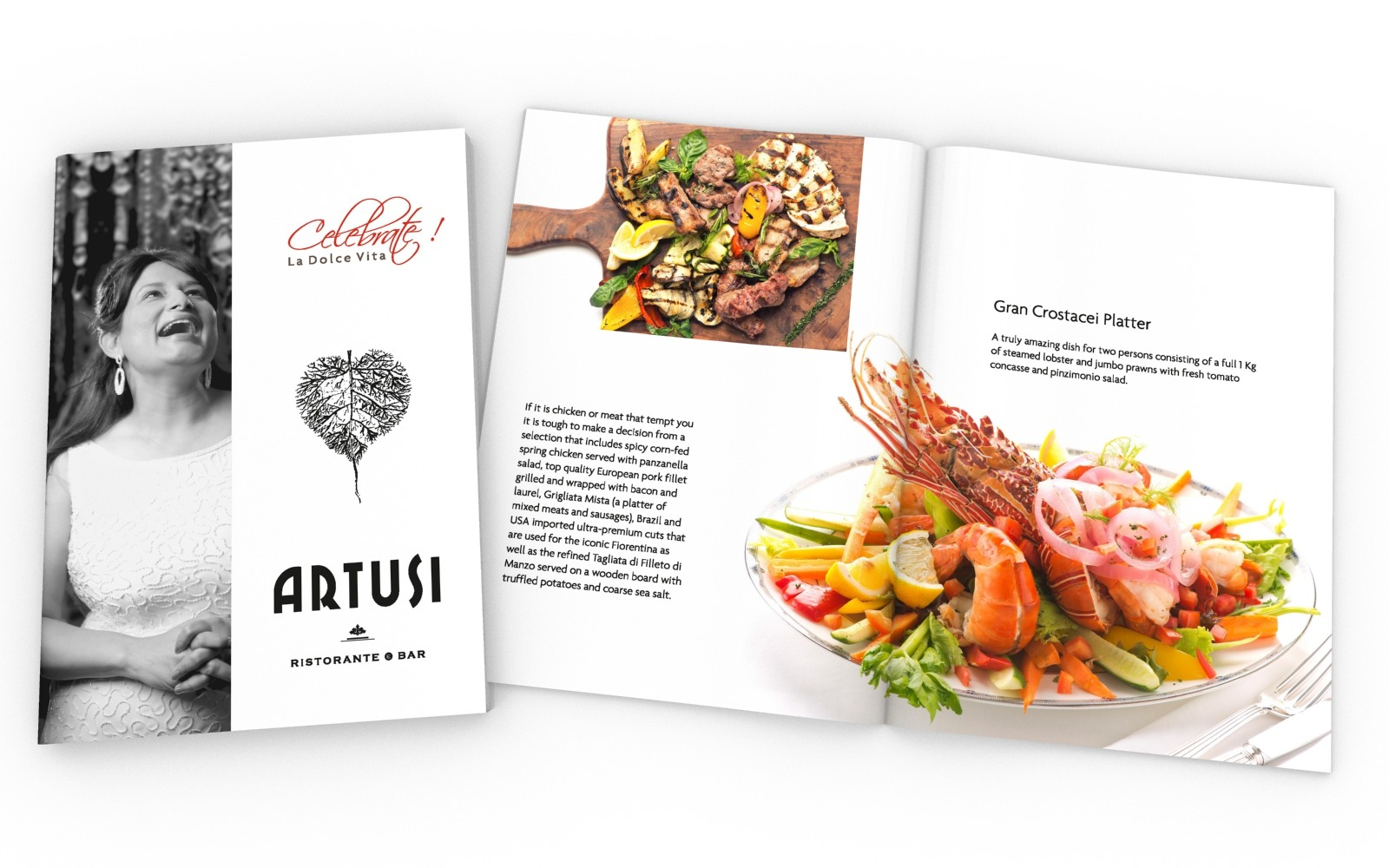 Brochure/ Catalog/ Menu design for an Intalian Fine Dining Restauarant, Artusi