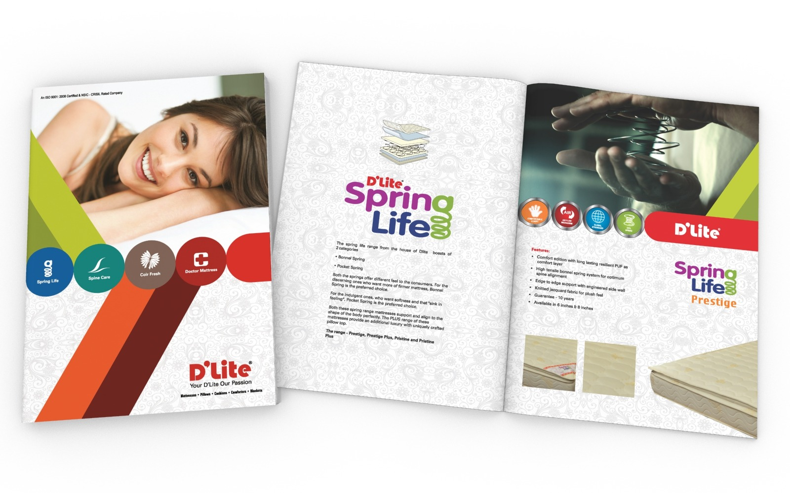 Brochure/ Catalog design for D'Lite, mattresses