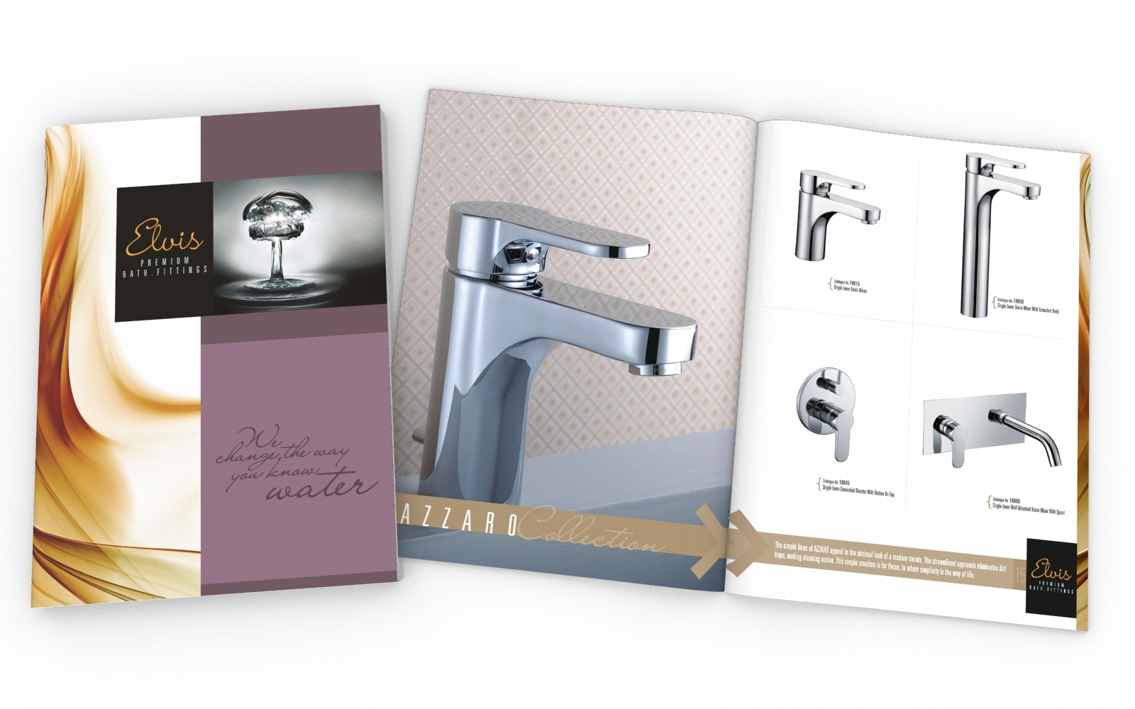 Brochure/ Catalog design for a Bath fittings manufacturer, Elvis