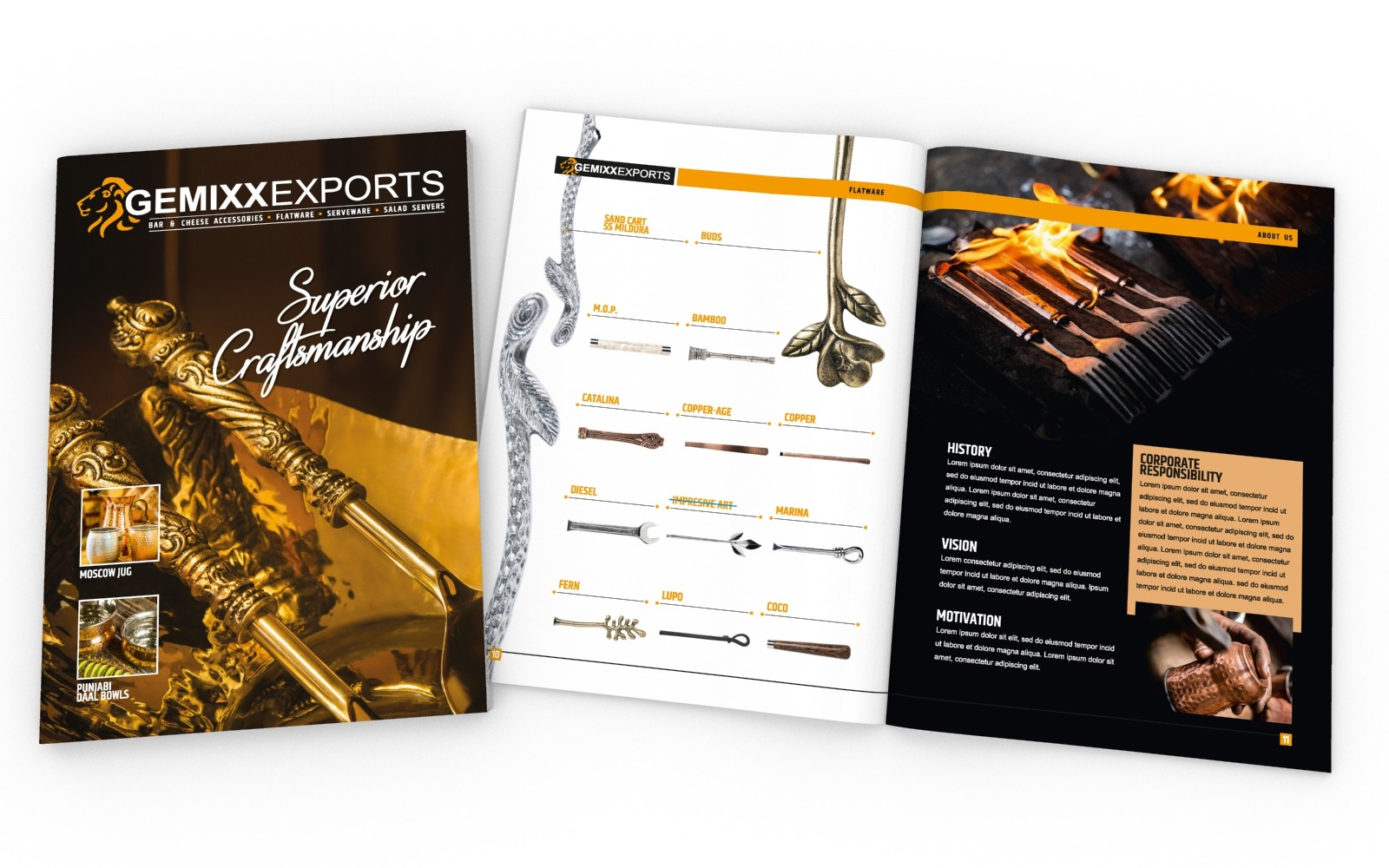Brochure/ Catalog design for Gemmixx Exports, a silversmith