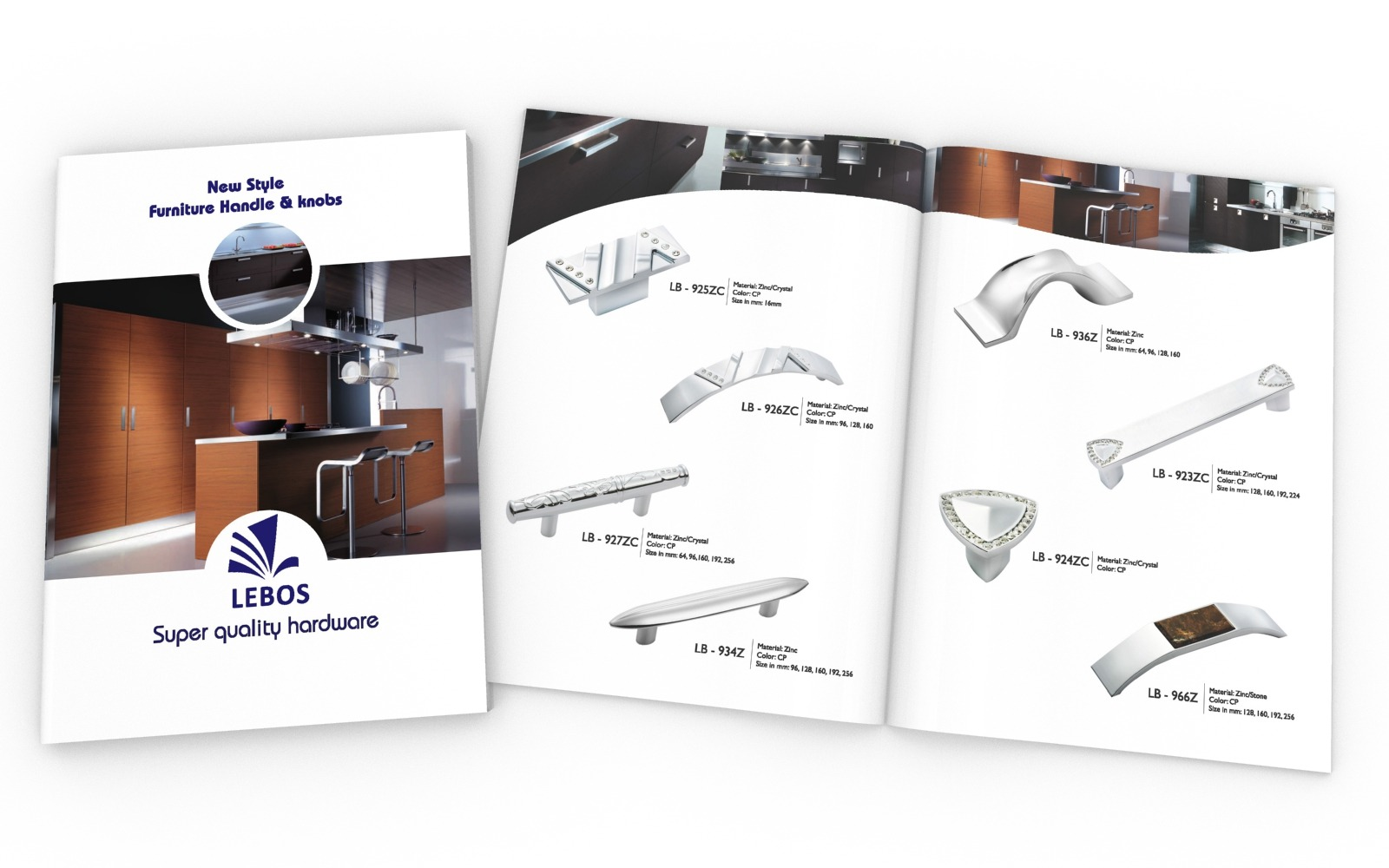 Brochure/ Catalog design for Lebos furniture handles and knobs, a Hardware manufacturer