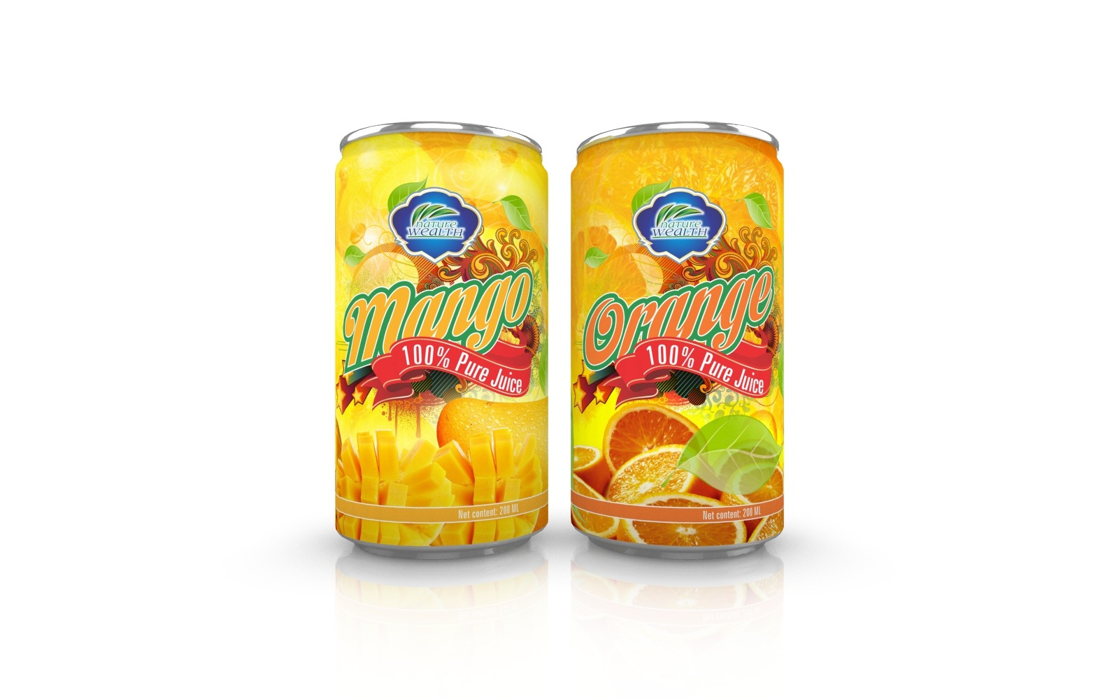 Fresh canned fruit juice Orange and Mango juice packaging design