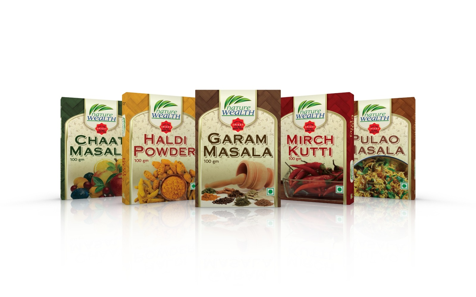 Premium Indian spices and herbs packaging box design