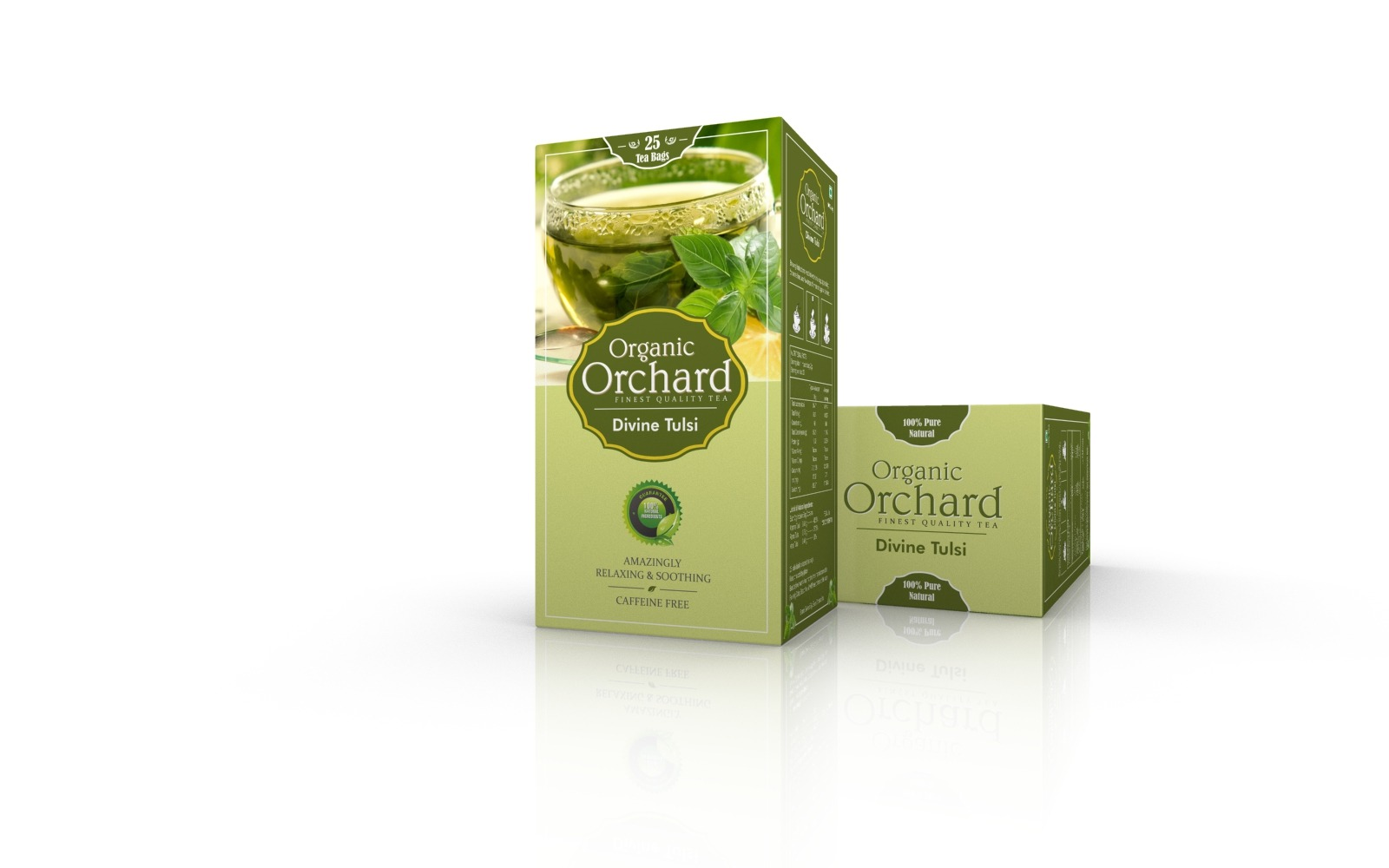 Premium Green Tulsi Teak packaging design