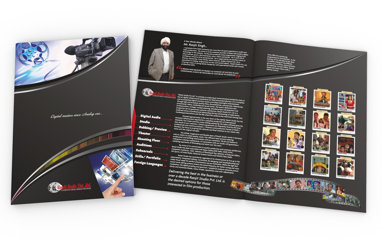 Brochure/ Catalog/ Company profile design for a Recording studio, Ranjit Studio