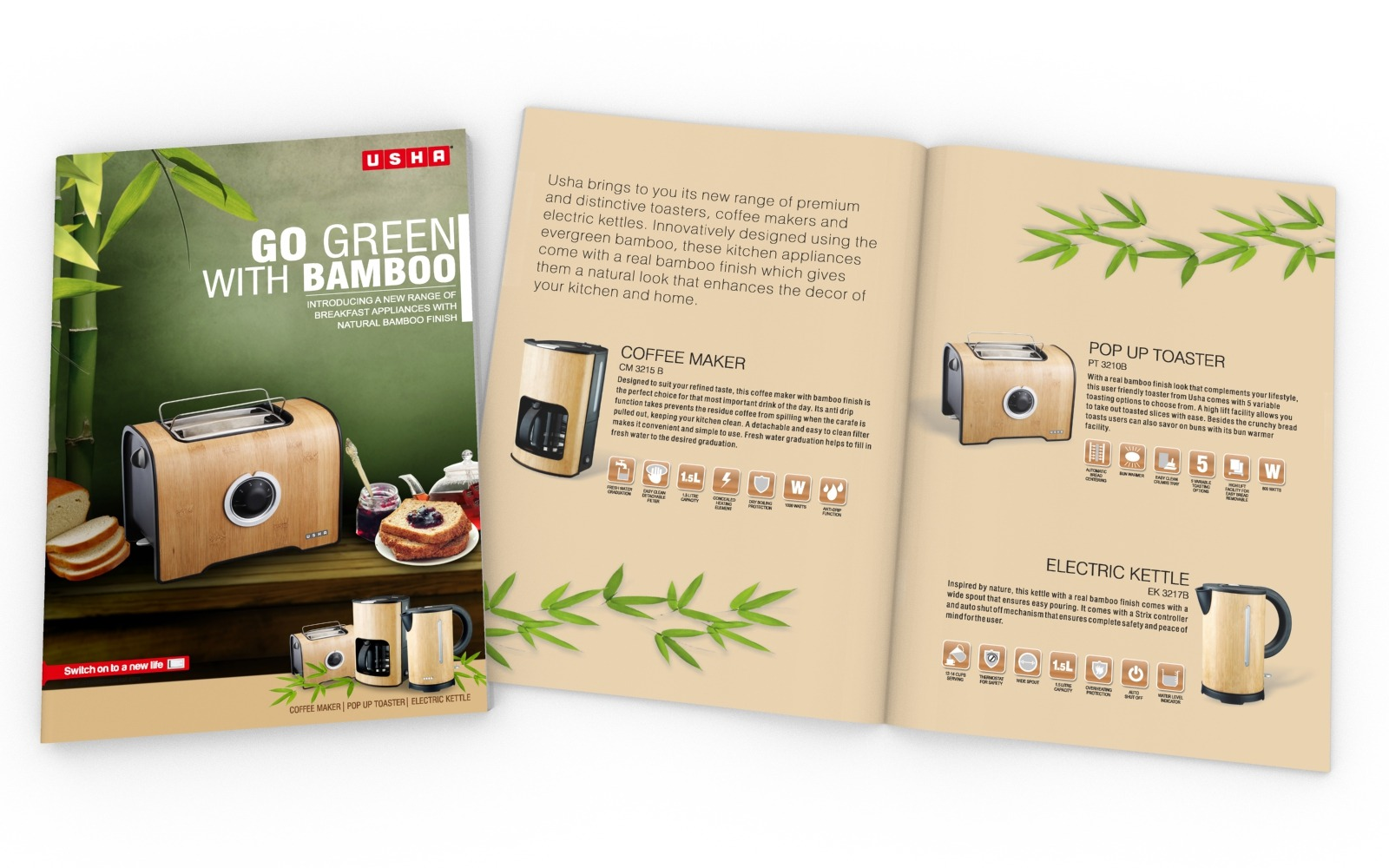 Company Brochure/ Product Catalog design for USHA Bamboo series, A Home appliance company. Coffee Maker, Pop up Toaster, Electric Kettle