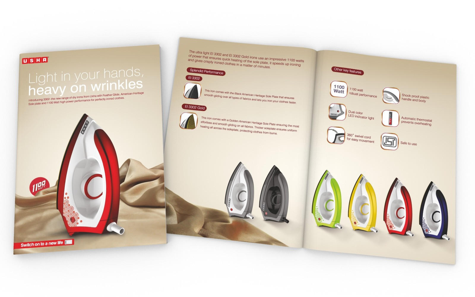 Company Brochure/ Product Catalog design for USHA Iron, A Home appliance company.